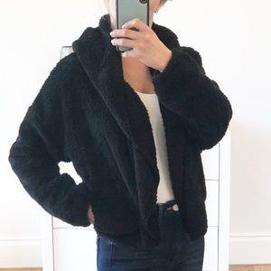 ST. MORITZ Black Faux Fur Hoodie Jacket